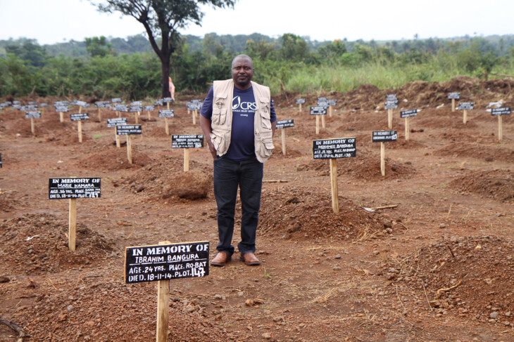 CRS is supporting the District Medical Office with the safe and dignified burials of Ebola victims in 3 districts in Sierra Leone. In the district of Port Loko, CRS is supporting 9 out of the 11 burial teams to bury anywhere from 20 to 30 deceased per day. CRS also supports the cemetery teams (grave diggers) in 3 designated cemeteries. Every death is treated as an Ebola victim as an extra precaution.